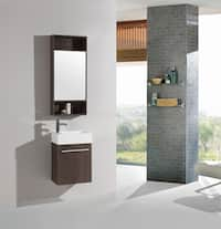 18-inch Belvedere Modern Wall Mounted Espresso Bathroom Vanity with Resin Sink