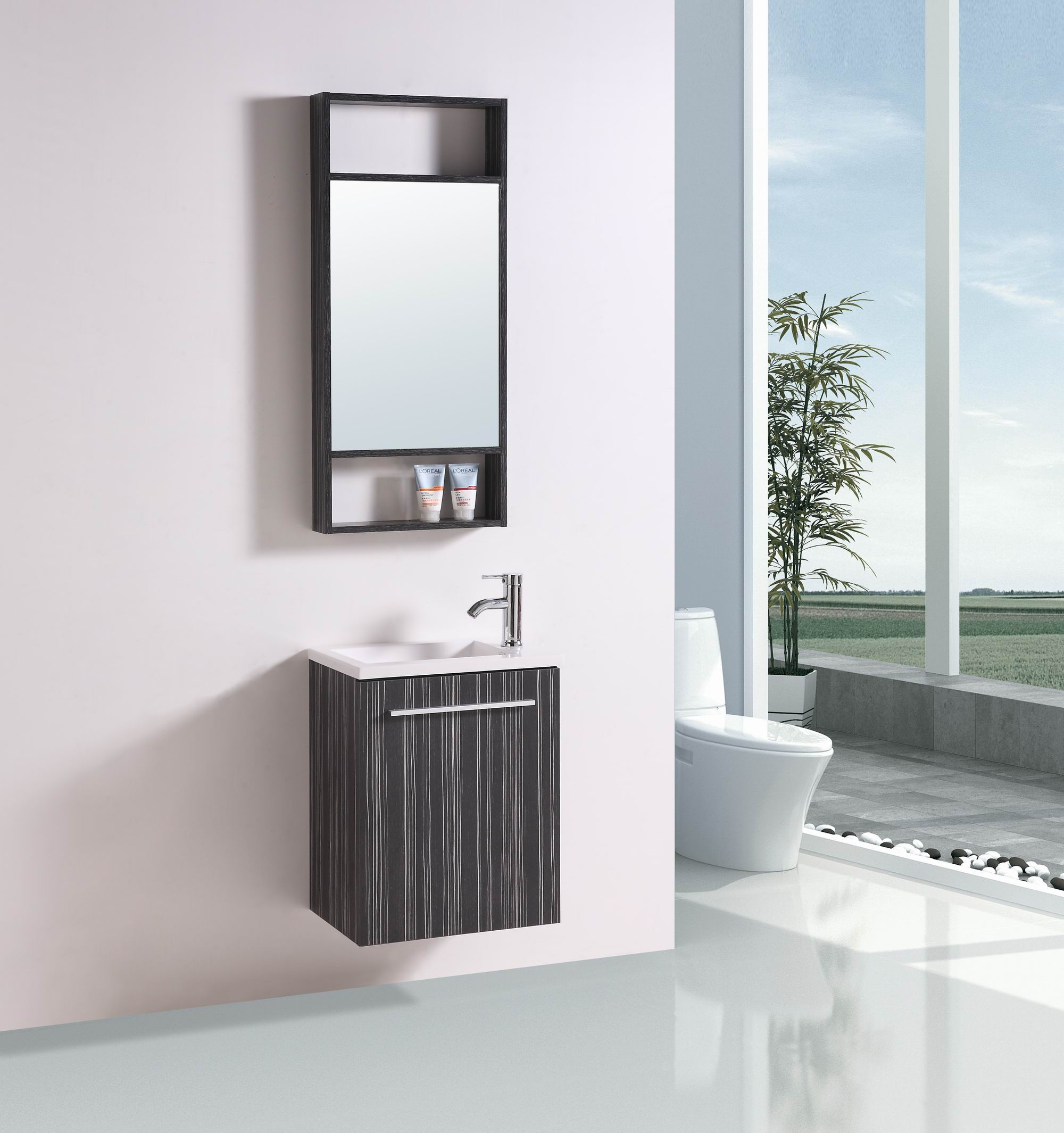 19.5-inch Belvedere Modern Wall Mounted Black Veneer Bath...