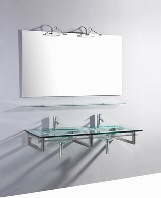 55-inch Belvedere Modern Wall Mounted Glass Double Bathroom Vanity