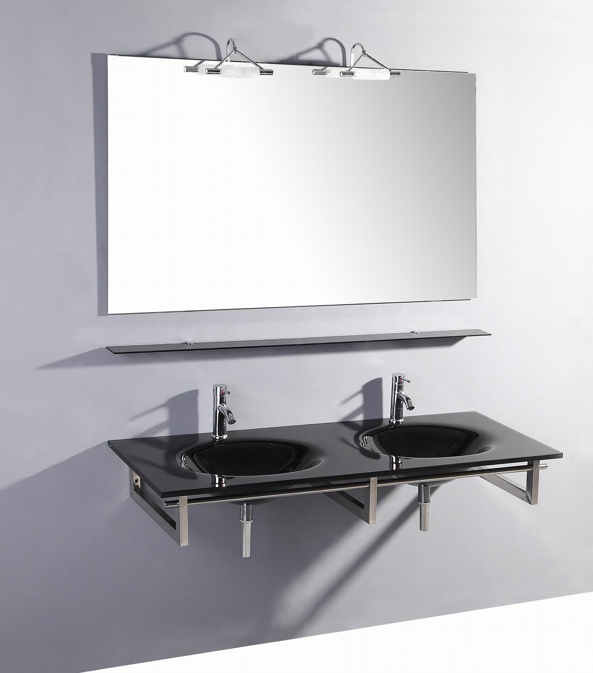 55 inch Belvedere Modern Wall Mounted Black Glass Double Bathroom Vanity