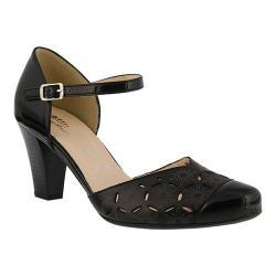 Women's Spring Step Janisa Quarter Strap Sandal Black Leather