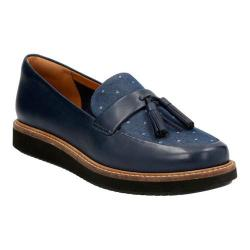 Women's Clarks Glick Castine Loafer Navy Cow Full Grain Leather/Textile