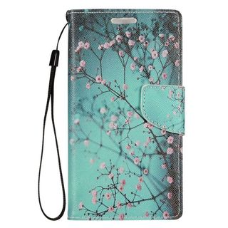 Insten Colorful Flowers Leather Case Cover Lanyard with Stand/ Wallet Flap Pouch/ Photo Display For LG Optimus Zone 3/ Spree