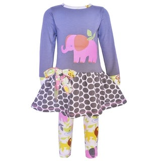 AnnLoren Girls Boutique Elephant Jungle Animals Dress and Leggings Set