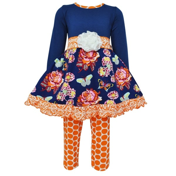 AnnLoren Girls Boutique Autumn Floral Dress and Polka Dot Legging Outfit