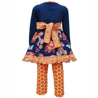 AnnLoren Girls Boutique Autumn Floral Dress and Polka Dot Legging Outfit