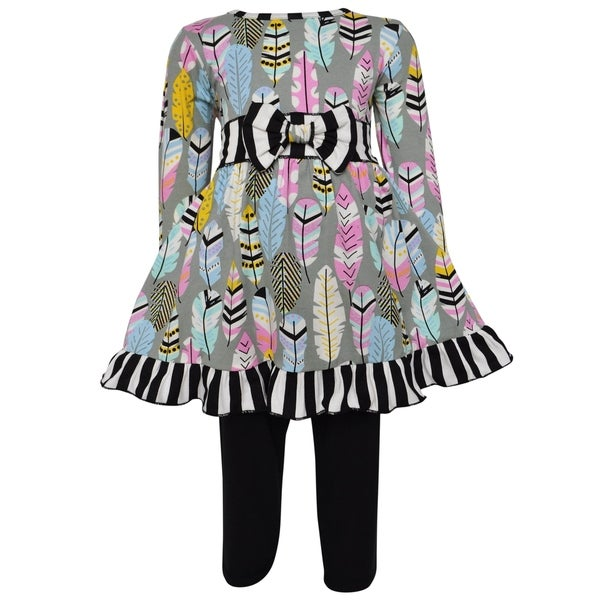 AnnLoren Girls Boutique Fabulous Feathers Dress & Leggings
