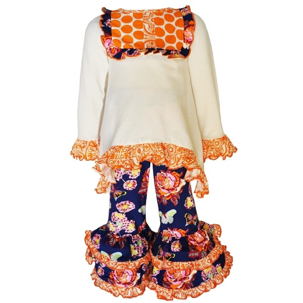 AnnLoren Girls Boutique Autumn Floral and Polka Dots Outfit Clothes