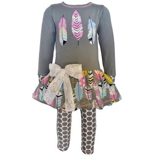 AnnLoren Girls Boutique Feathers Tunic & Polka Dot Leggings|https://ak1.ostkcdn.com/images/products/16801893/P23106438.jpg?impolicy=medium
