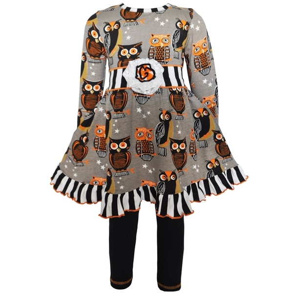 AnnLoren Girls Boutique Autumn Owl Dress and Leggings Set