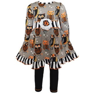 AnnLoren Girls Boutique Autumn Owl Dress and Leggings Set|https://ak1.ostkcdn.com/images/products/16801896/P23106441.jpg?impolicy=medium