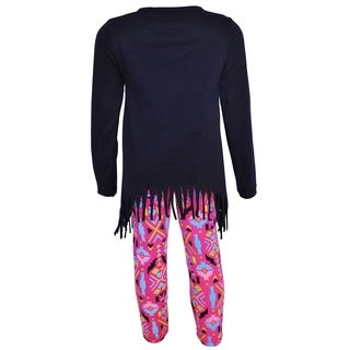 AnnLoren Girls Heart Emoji High Low Tunic & Aztec Leggings