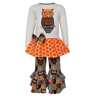 AnnLoren Girls Boutique Autumn Owl Long Sleeved Tunic and Pants
