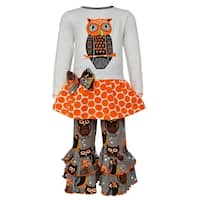 AnnLoren Girls Boutique Autumn Owl Long Sleeved Tunic and Pants Set