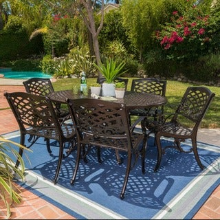 Windley Outdoor Expandable Aluminum Dining Set with Umbrella Hole by Christopher Knight Home