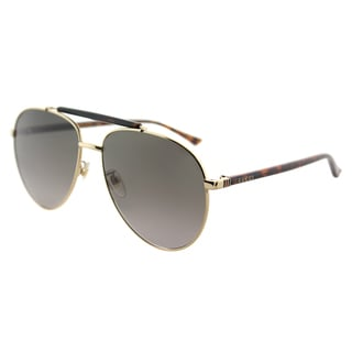 Gucci Aviator Unisex Gold Frame Grey Gradient Lens Sunglasses