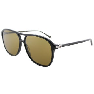 Gucci Unisex Shiny Black Frame and Brown Lens Square Sunglasses