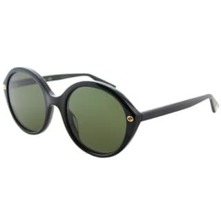 Gucci Women's Shiny Black Frame and Green Lens Round Sunglasses