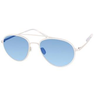 Modo Unisex 680 CRY Crystal Oval Frame Sunglasses with Blue Mirror Polarized Lenses
