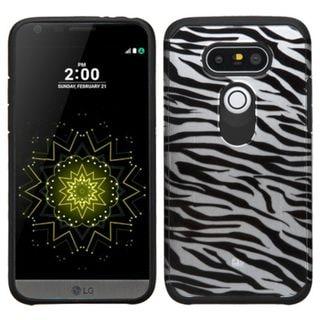 Insten Black/ White Zebra Hard PC/ Silicone Dual Layer Hybrid Rubberized Matte Case Cover For LG G5