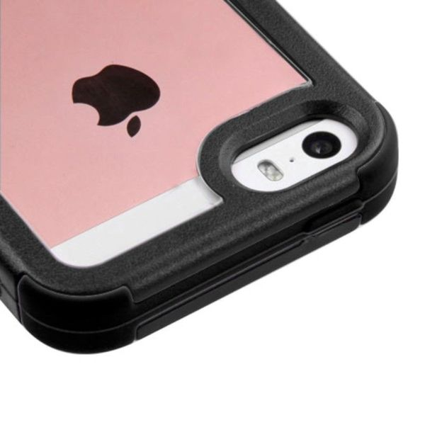 low priced d4b0b d52c5 Insten Black/ Clear Hard PC/ Silicone Dual Layer Hybrid Crystal Bumper  Frame For Apple iPhone 5/ 5S/ SE
