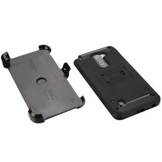 Insten Black Hard Snap-on Dual Layer Hybrid Case Cover with Stand/ Holster/ Screen Protector For LG Stylus 2