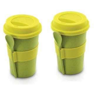 CooknCo Coffee Mug w/ Spoon, Set of 2, Green