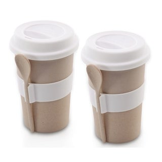 CooknCo Coffee Mug w/ Spoon, Set of 2, Cream