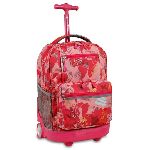 J World New York Sunset Pink Atlas Rolling 15-inch Laptop Backpack