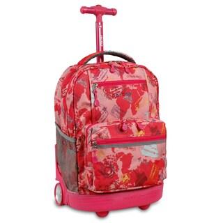 J World New York Sunset Pink Atlas Rolling 15-inch Laptop Backpack