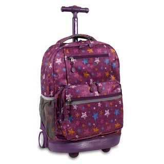 J World New York Sunset Star Purple Rolling 15-inch Laptop Backpack