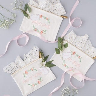 Wedding Party Floral Canvas Clutch
