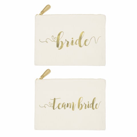 Gold Foil Bride + Team Bride Wedding Canvas Clutch