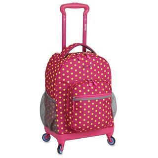 J World New York Sunslider Pink Buttons 15-inch Laptop Spinner Backpack
