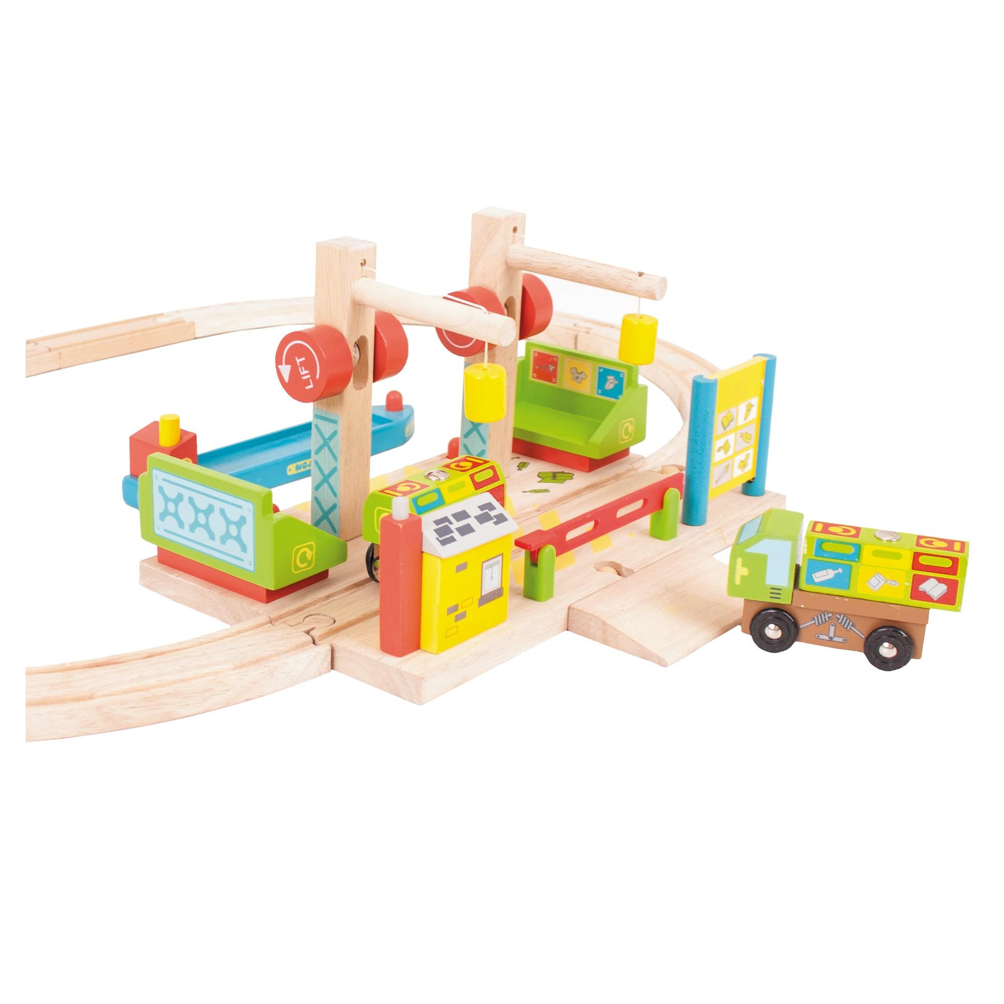 Bigjigs Dockside Recycling Center Wooden Train Accessory ...