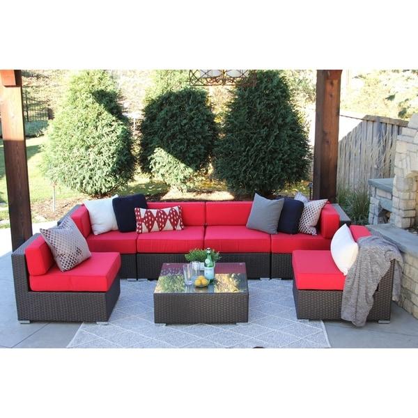 Pillsbury 7PC Modern Outdoor Rattan Patio Furniture Sofa Set