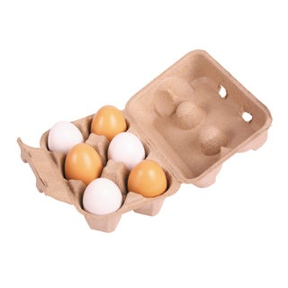 Bigjigs Toys Wooden Six Eggs in a Carton