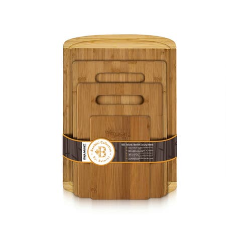 Bambusi EcoFriendly Chopping / Cutting Boards Set of 4 w/ Drip Groove