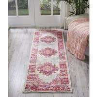 Nourison Passion Distressed Ivory/Fushia Runner Rug - 1'10 x 6'