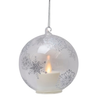 Mystique Moving Flame Candle Snowflake Ornament