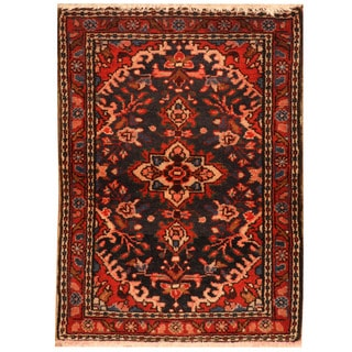Herat Oriental Persian Hand-knotted Mahal Wool Rug (1'10 x 2'6)