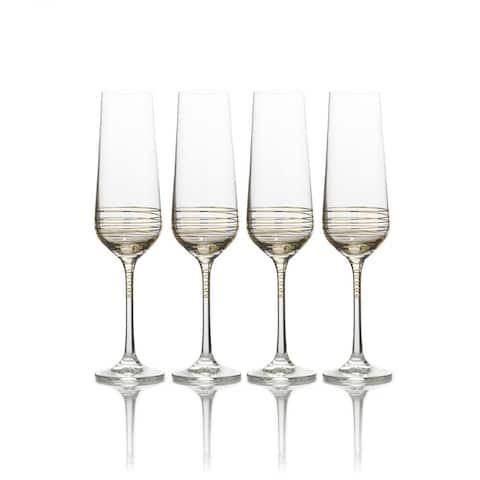 Mikasa 'Electric Boulevard Gold' 8oz Stemware Flute Glass (Set of 4)