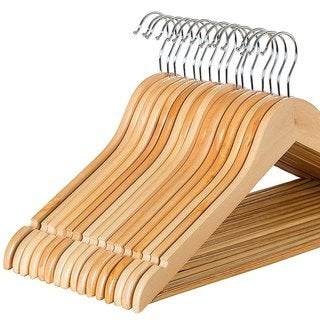 Wood Suit Hangers with Non Slip Bar and Chrome Hooks by Zober - 20 Pack