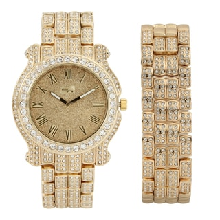 Bling-ed Out Round Case Metal Mens Watch w/ Matching Bling-ed Out Bracelet Gift Set