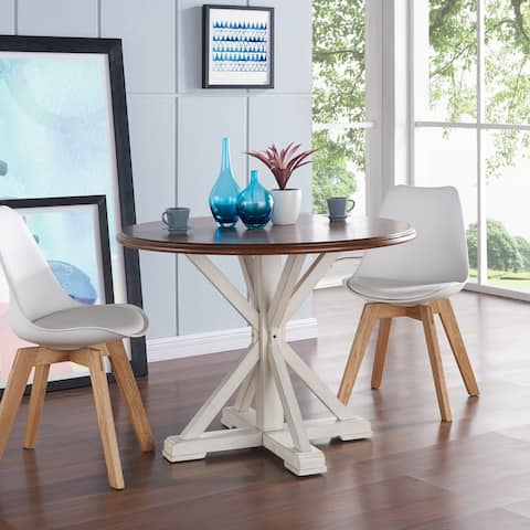 The Gray Barn Oriaga Round Pedestal Dining Table - Antique White