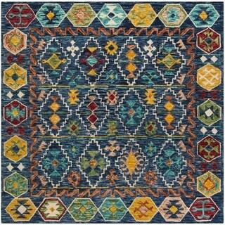 Safavieh Aspen Hand-Woven Wool Southwestern Geometric Navy/ Gold Area Rug (7' Square)
