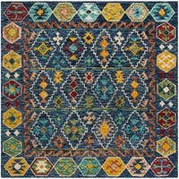 Safavieh Aspen Hand-Woven Wool Southwestern Geometric Navy/ Gold Area Rug - 7' Square