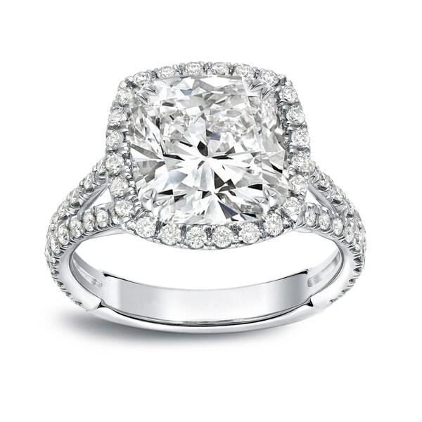 Shop Auriya 18k White Gold 4 1/3ct TDW Cushion-Cut Diamond