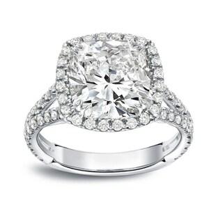 Auriya 18k White Gold 4 1/3ct TDW Cushion-cut Halo Diamond Engagement Ring