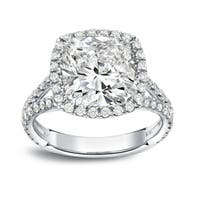 Auriya 18k White Gold 4 1/3ct TDW Cushion-Cut Diamond Halo Engagement Ring
